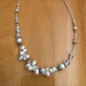 White Pearl & Opalescent Beads on White Fish Wire